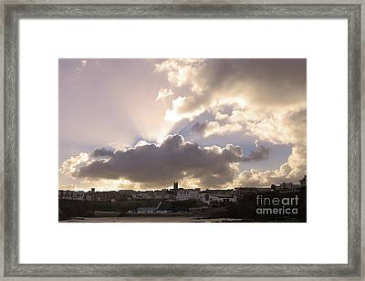 Sunbeams Over Church In Color Framed Print by Nicholas Burningham