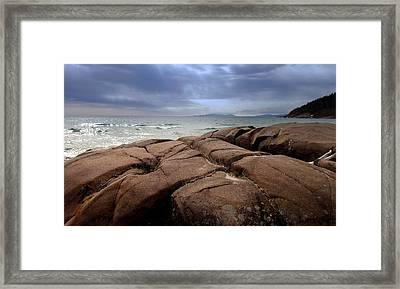 Sunbreak Over The Shoreline Framed Print by Laura Lea Wergin-Comeau