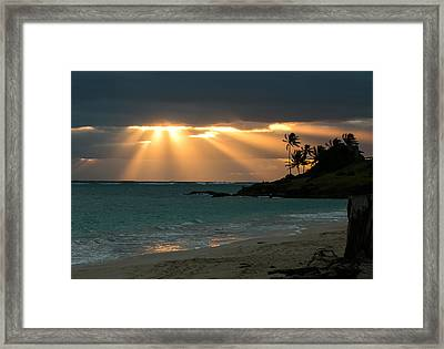 Sunburst At Kailua Framed Print