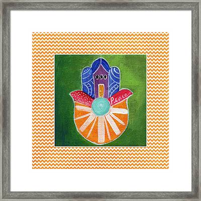 Sunburst Hamsa With Chevron Border Framed Print by Linda Woods