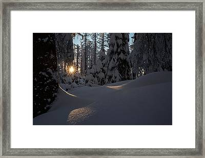 Sunburst In Winter Fairytale Forest Harz Framed Print