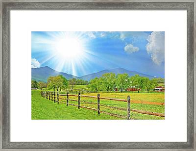 Sunburst Over Peaks Of Otter, Virginia Framed Print