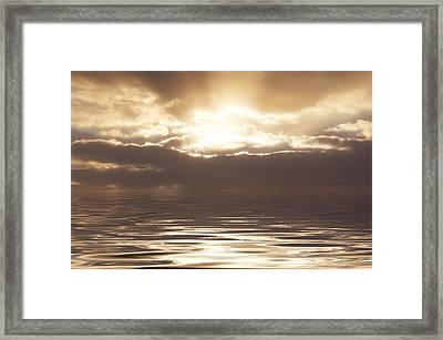 Sunburst Over Water Framed Print by Bill Cannon