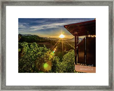 Sunburst View From Dellas Boutique Hotel Near Meteora In Kastraki, Kalambaka, Greece Framed Print
