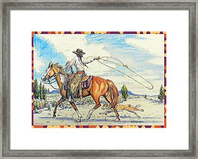 Cowgirl And Dog Framed Print