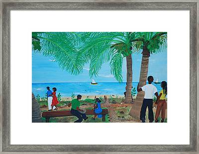 Framed Print featuring the painting Sunday By The Beach by Nicole Jean-Louis