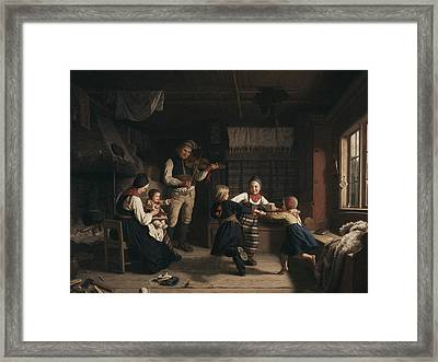 Sunday Evening In A Farmhouse In Dalecarlia Framed Print