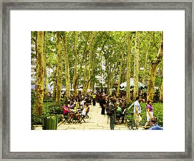 Sunday In Bryant Park Framed Print by Phil Welsher