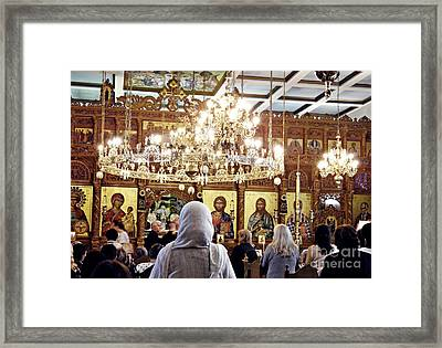 Sunday Liturgy Framed Print by Sarah Loft
