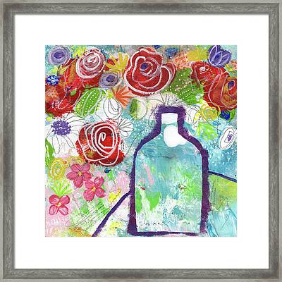 Sunday Market Flowers 2- Art By Linda Woods Framed Print by Linda Woods