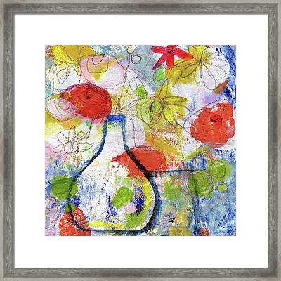 Sunday Market Flowers- Art By Linda Woods Framed Print
