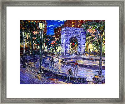 Sunday Night In Washington Square Park Framed Print by Arthur  Robins