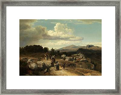 Sunday Walk In The Roman Countryside Framed Print by Oswald Achenbach