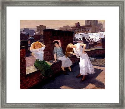 Sunday Women Drying Their Hair Framed Print