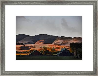 Sundown At The Ranch Framed Print by Patricia Stalter