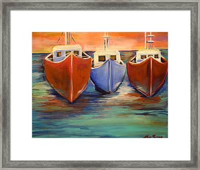 Sundown Fishing Framed Print