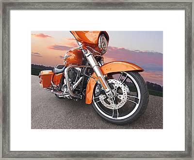 Sundown - Harley Street Glide Framed Print by Gill Billington