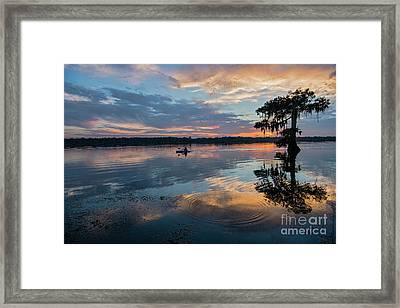Sundown Kayaking At Lake Martin Louisiana Framed Print by Bonnie Barry