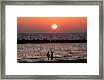 Sundown On Tel Aviv Beach Framed Print by Paco Feria