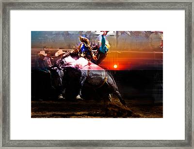 Sundown Saddle Bronc Rider Framed Print by Mark Courage