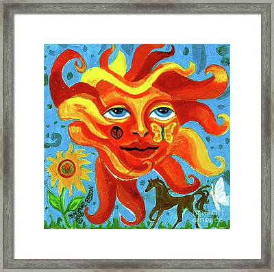 Framed Print featuring the painting Sunface With Butterfly And Horse by Genevieve Esson