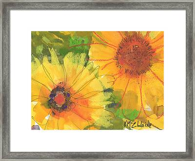Big Sunflowers Watercolor And Pastel Painting Sf018 By Kmcelwaine Framed Print