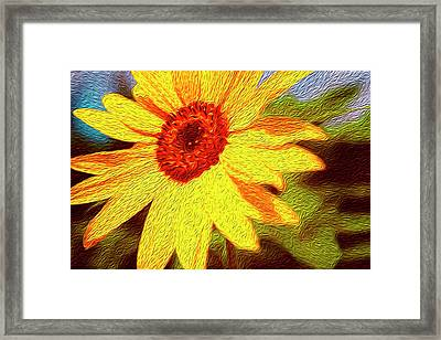Sunflower Abstract Framed Print by Les Cunliffe