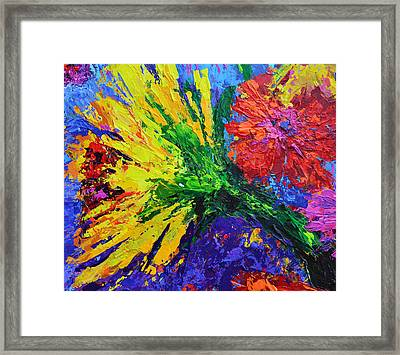 Sunflower And A Peony Framed Print by Patricia Awapara