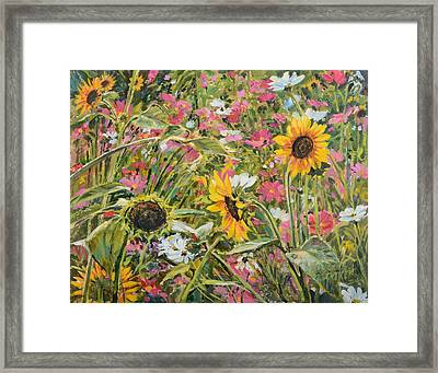 Framed Print featuring the painting Sunflower And Cosmos by Steve Spencer