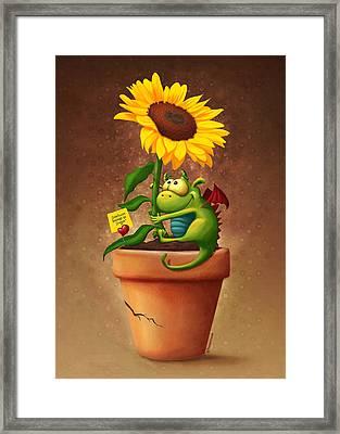 Sunflower And Dragon Framed Print