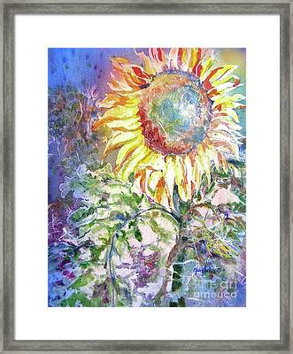 Sunflower And Grasshopper Framed Print