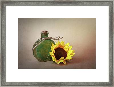Sunflower And Green Glass Still Life Framed Print by Tom Mc Nemar