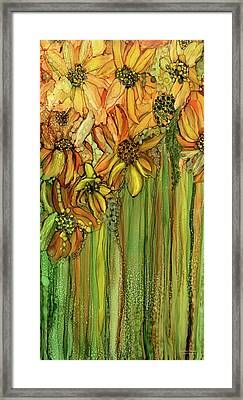 Sunflower Bloomies 2 - Golden Framed Print