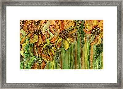 Sunflower Bloomies 3 - Golden Framed Print