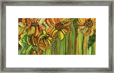 Sunflower Bloomies 4 - Golden Framed Print