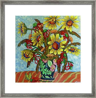 Framed Print featuring the painting Sunflower Bouquet With Butterfly by Susan  Spohn