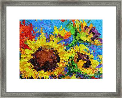 Sunflower Bunch, Modern Impressionistic Floral Still Life Palette Knife Work Framed Print