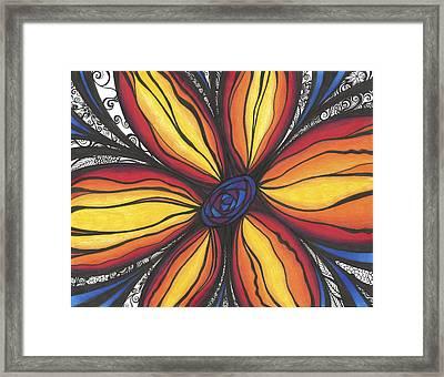 Sunflower Burst Framed Print by Jenn Wilson