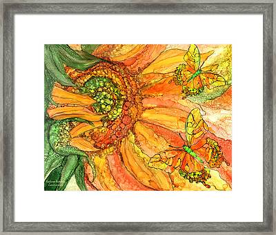 Sunflower Butterflies Framed Print