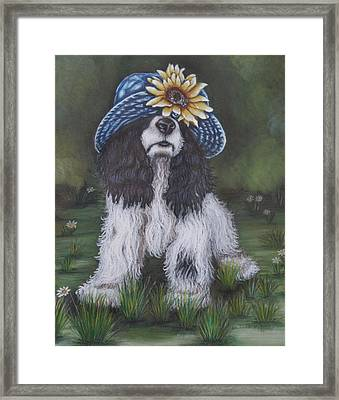 Sunflower Cap And Cocker Spaniel Framed Print by Theresa Cangelosi