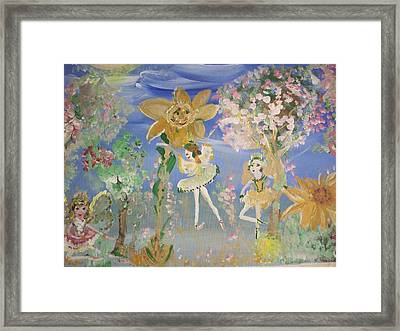 Framed Print featuring the painting Sunflower Fairies by Judith Desrosiers