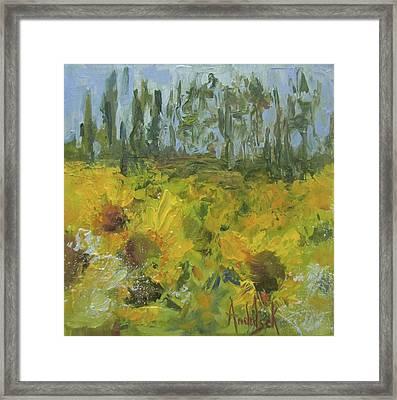 Sunflower Field Framed Print by Barbara Andolsek