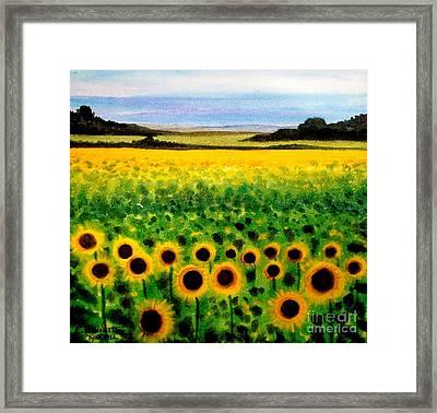 Sunflower Field Framed Print by Elizabeth Robinette Tyndall
