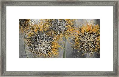 Sunflower Frenzies - Yellow And Gray Modern Art Framed Print by Lourry Legarde