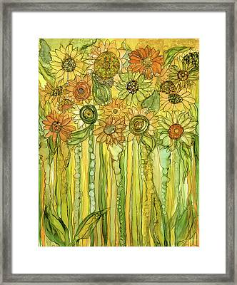 Sunflower Garden Bloomies 1 Framed Print