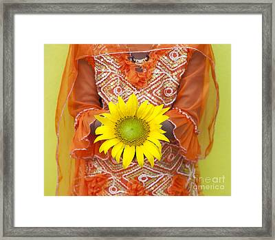 Sunflower Girl Framed Print