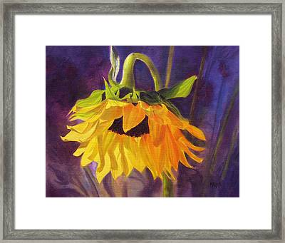 Framed Print featuring the painting Sunflower Glow by Marina Petro