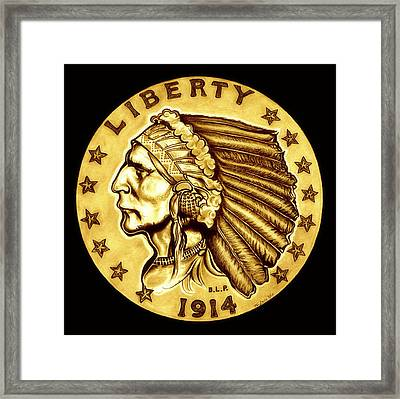 Sunflower Gold Quarter Eagle Framed Print