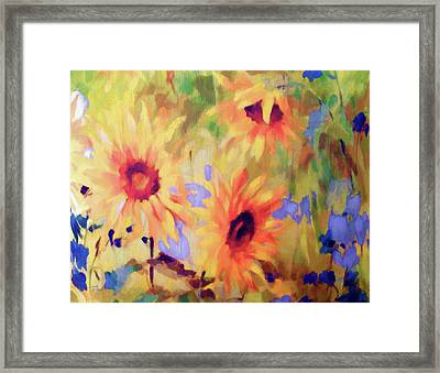 Sunflower Joy Watercolor Framed Print