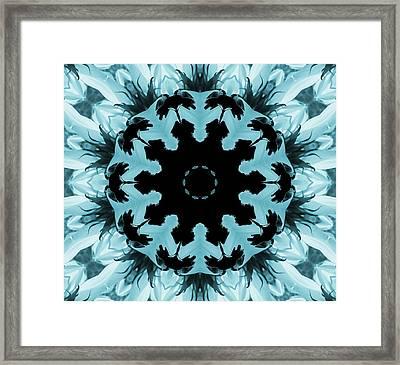 Sunflower Kaleidoscope In Blue Framed Print